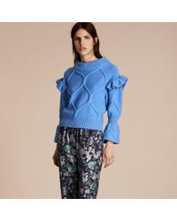Burberry Blue Cable Knit Wool Cashmere Sweater With Ruffle Bell Sleeves