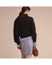 Burberry Black Asymmetric Rib Knit Wool Cashmere Sweater