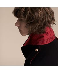 Burberry Blue Technical Wool Military Overcoat