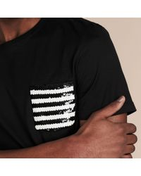 Burberry Cotton T-shirt With Sequin Stripe Detail Black for men