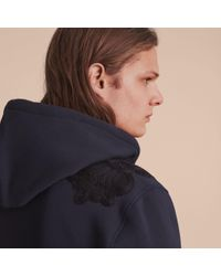 Burberry Blue Lace Appliqué Jersey Hooded Top for men