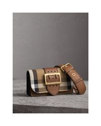 Burberry - Brown Small Buckle House Check And Leather Shoulder Bag - Lyst