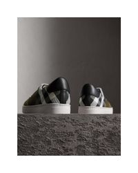 Burberry Overdyed House Check Cotton Trainers In Dark Military Green/black - Men | for men