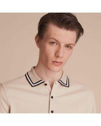 Burberry Natural Striped Collar Cotton Piqué Polo Shirt Stone for men