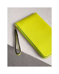 Burberry Yellow Embossed Neon Leather Travel Wallet
