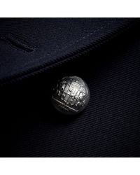 Burberry Blue Cord Detail Wool Military Jacket