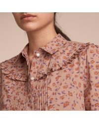 Burberry Multicolor Ruffle Yoke Floral Print Cotton Shirt Light Copper