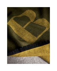 Burberry - Green Graphic Print Motif Cashmere Wrap for Men - Lyst