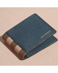 Burberry Grainy Leather And House Check Bifold Wallet Storm Blue for men