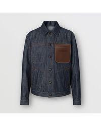 Veste en denim selvedge japonais avec cuir Burberry pour homme en coloris Blue
