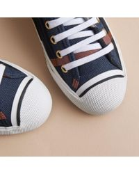 Burberry Check Linen Cotton Trainers Ink Blue