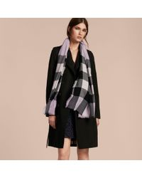 Burberry Multicolor The Lightweight Cashmere Scarf In Check Dusty Lilac