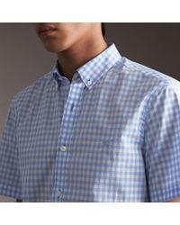 Burberry Short-sleeve Button-down Collar Cotton Gingham Shirt Pale Blue for men