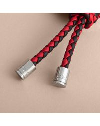 Burberry - Multicolor Braided Leather Knot Key Ring - Lyst