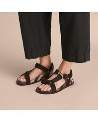 Burberry Black Hardware Detail Check Three-point Strap Ripstop Sandals