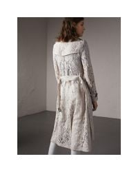 Burberry Gray Macramé Lace Trench Coat Pale Grey