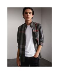 Burberry Gray Button-down Collar Check Stretch Cotton Blend Shirt Charcoal for men
