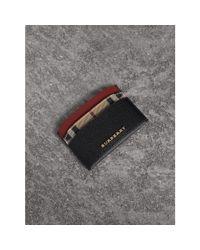 Burberry Colour Block Leather And Haymarket Check Card Case In Black/multicolour  
