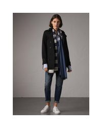 50800a352 Burberry Short Double Wool Twill Trench Coat Black in Black - Lyst