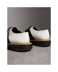 Burberry Multicolor Buckle Detail Woven-toe Leather Shoes