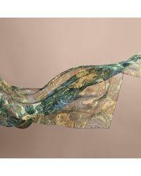 Burberry - Beasts Print Lightweight Silk Scarf In Sage Green - Lyst