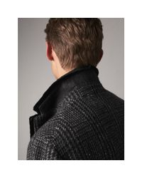 Burberry Gray Detachable Mink Collar Check Wool Tailored Coat for men