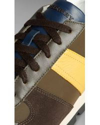Burberry Brown Suede And Leather Trainers for men