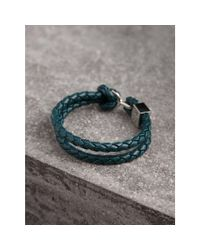 Burberry - Multicolor Braided Leather Bracelet In Dark Teal - Men | - Lyst