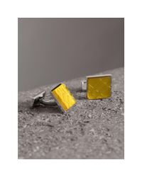 Burberry - Multicolor Check-engraved Square Cufflinks for Men - Lyst