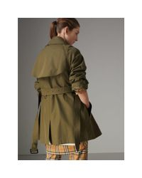 Burberry Green Exaggerated Collar Cotton Gabardine Trench Coat