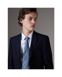 Burberry Classic Cut Check Silk Jacquard Tie Light Blue for men