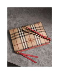 Burberry Multicolor Haymarket Check And Leather Pouch