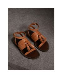 Burberry Brown Tasselled Leather Sandals