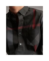 Burberry Gray Short-sleeve Check Stretch Cotton Blend Shirt Charcoal for men