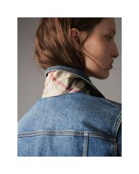 Burberry - Blue Check Detail Denim Jacket Light Indigo - Lyst