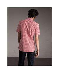 Burberry Short-sleeve Button-down Collar Cotton Gingham Shirt Parade Red for men
