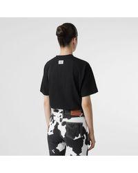 T-shirt oversize en coton à imprimé licorne Burberry en coloris Black