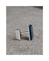Burberry - Blue Engraved Enamel Cufflinks for Men - Lyst