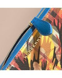 Burberry Peony Rose Print Haymarket Check And Leather Ziparound Wallet Mineral Blue/vibrant Orange