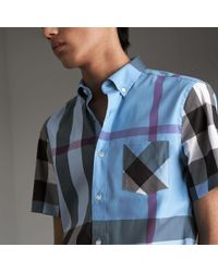 Burberry Short-sleeve Check Stretch Cotton Blend Shirt Cyan Blue for men