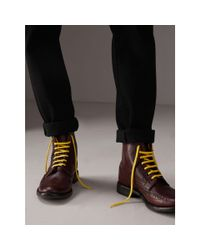Burberry Multicolor Leather Brogue Boots With Bright Laces for men