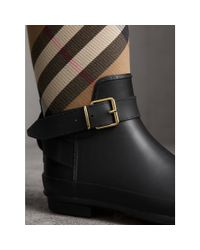 Burberry | Multicolor Belt Detail Check And Rubber Rain Boots House Check/black | Lyst