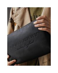 Burberry Black Large Embossed Leather Zip Pouch