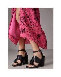 Burberry Black Tasselled Leather Block-heel Sandals