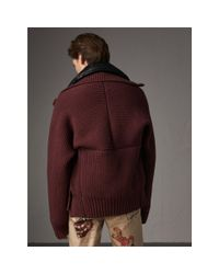 Burberry Multicolor Rib Knit Cotton Blend Jacket With Down-filled Gilet for men