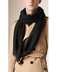 Burberry Black Embroidered Lightweight Cashmere Scarf