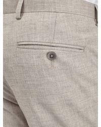Burton Natural Beige Textured Slim Fit Suit Trousers for men