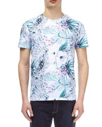 Burton Blue Pink And Aqua Floral All-over Print T-shirt for men
