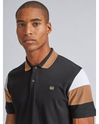Burton Black, Caramel And White Cut And Sew Polo Shirt for men