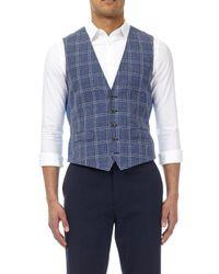 Burton Blue Large Woven Checked Waistcoat for men